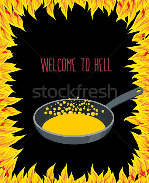 сковорода нефть пламя ад приветствую бумаги Сток-фото © popaukropa