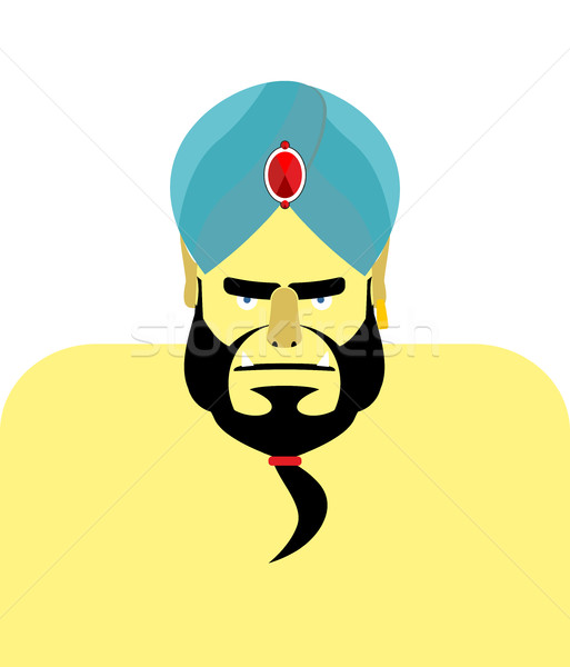 Boos tulband baard Blauw ingericht kostbaar Stockfoto © popaukropa