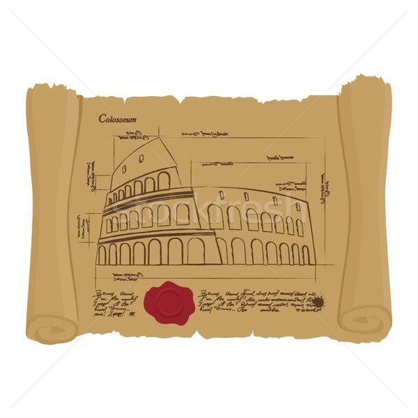 Dessin colisée anciens défiler rétro architectural Photo stock © popaukropa