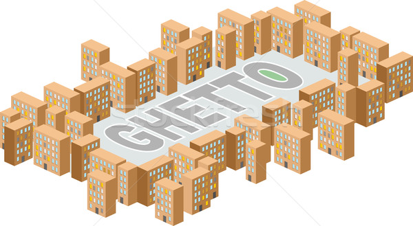 Ghetto district. Building in form of letters. Vector illustratio Stock photo © popaukropa