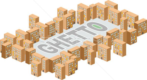 Gueto distrito edificio forma cartas vector Foto stock © popaukropa