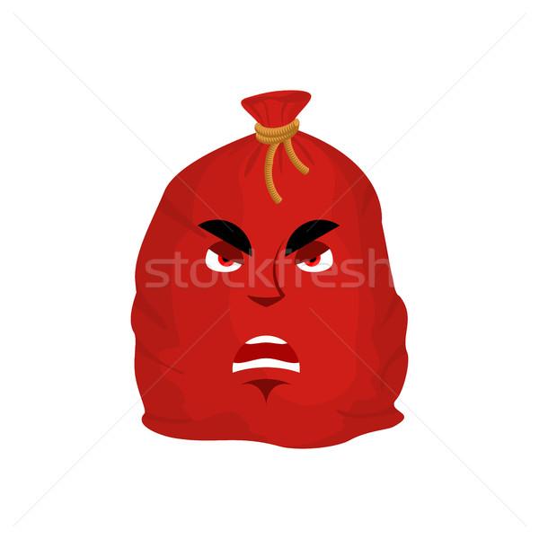 Santa bag angry emotion. Red Christmas sack with gift Emoji. sac Stock photo © popaukropa