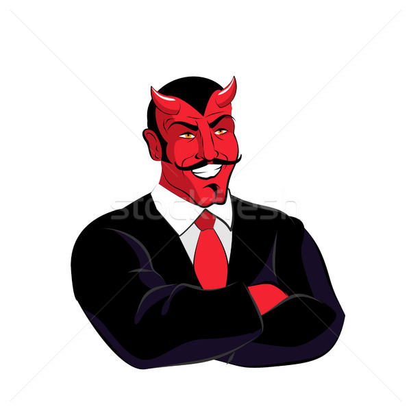 Satan patron diable affaires costume noir rouge Photo stock © popaukropa