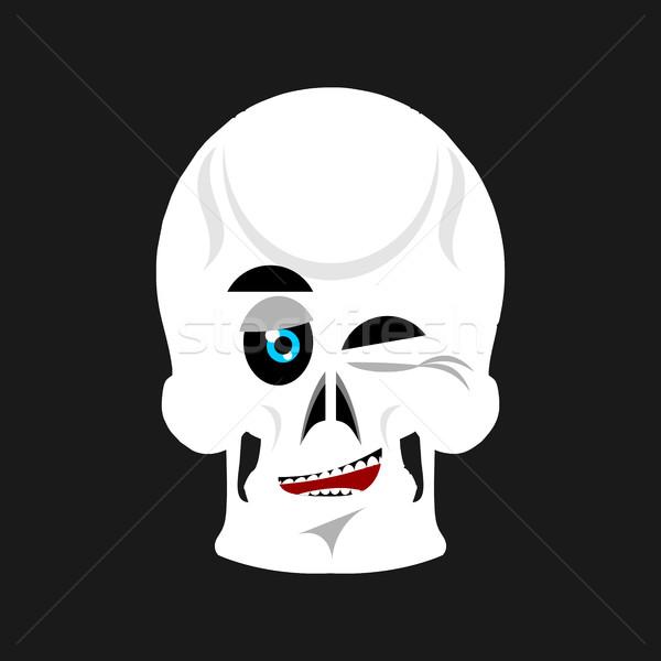 Skull winks Emoji. skeleton head happy emotion isolated Stock photo © popaukropa
