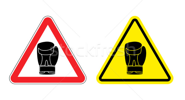 Warning sign attention Boxer. Hazard yellow sign fighters. Silho Stock photo © popaukropa