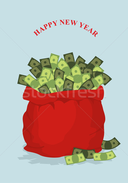 Happy new year. Big bag full of money. Holiday gift bag with cas Stock photo © popaukropa