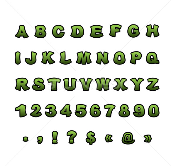 Mutant font. Green rough comic alphabet in style. Abstract ABC.  Stock photo © popaukropa