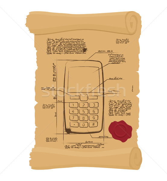 Cell phone with buttons on old scroll. Paper Project of ancient  Stock photo © popaukropa
