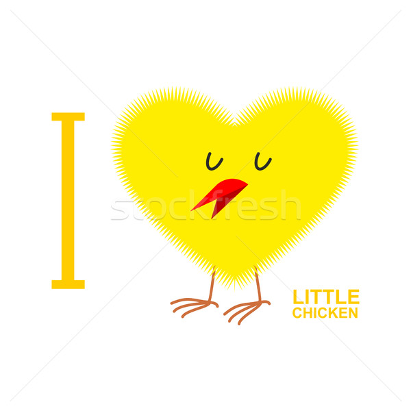 I love chicks. Yellow Symbol of heart from a small chicken. Vect Stock photo © popaukropa