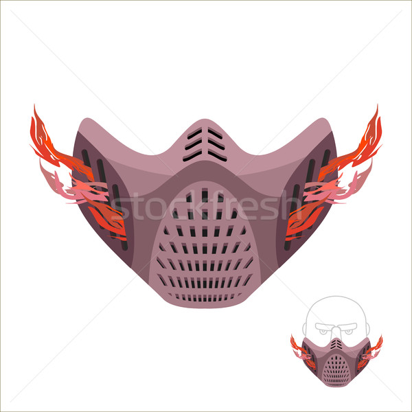 Protective sports mask. Scary Monster mask or maniac with fire.  Stock photo © popaukropa