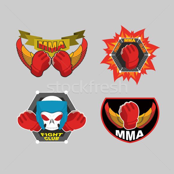 MMA emblem set. Mix fight club logo. Vector illustration Stock photo © popaukropa