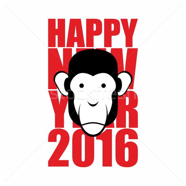 Happy new year 2016. Year of monkey. Animal on  Chinese calendar Stock photo © popaukropa