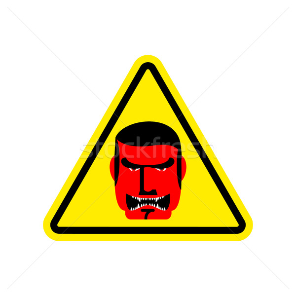 Angry Boss Warning sign yellow. Evil Head Hazard attention symbo Stock photo © popaukropa