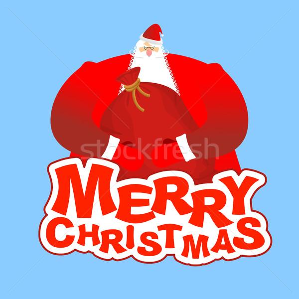 Neşeli Noel noel baba çanta noel şablon Stok fotoğraf © popaukropa