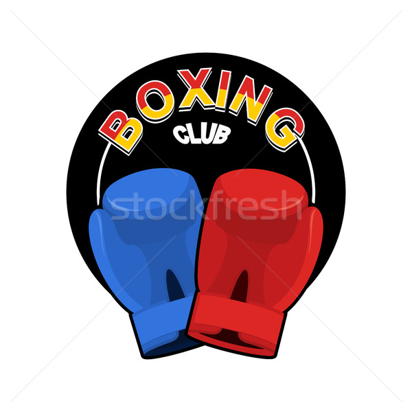 Boxing emblem. Gred and blue loves. logo for sports team and clu Stock photo © popaukropa