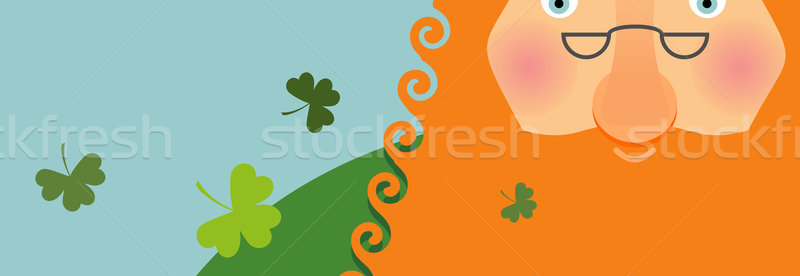 St. Patricks Day banner. Leprechaun face . Head with Red beard.  Stock photo © popaukropa