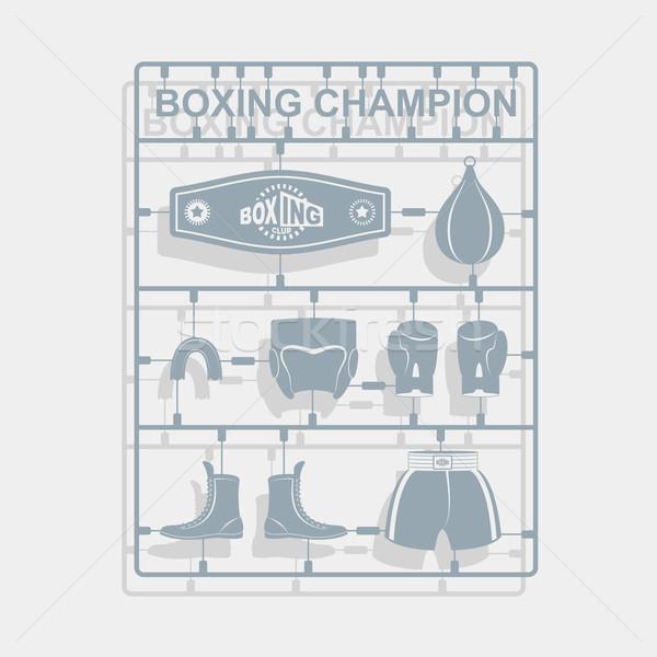 Set Boxing equipment. Plastic model kits. Vector illustration Stock photo © popaukropa