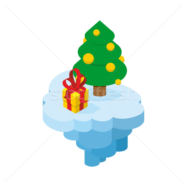 Christmas flying island. Piece of land with tree and present. Ho Stock photo © popaukropa