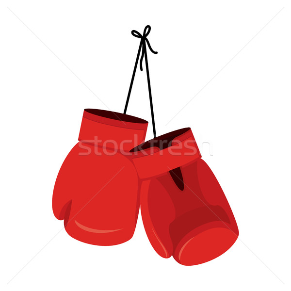 Hanging red boxing gloves. Accessory for boxer. sports equipment Stock photo © popaukropa