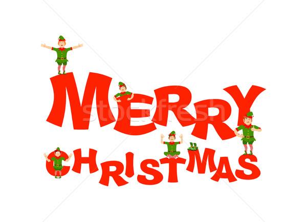 Merry Christmas. Santa Elf helper. happy Elves  Stock photo © popaukropa
