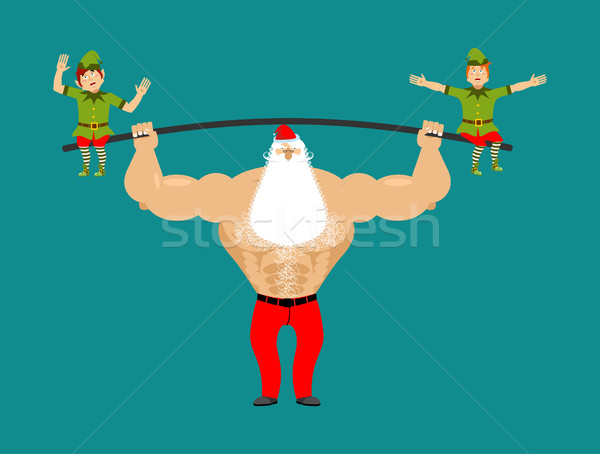 Strong Santa lift barbell with elves. powerlifting elf gravity.  Stock photo © popaukropa