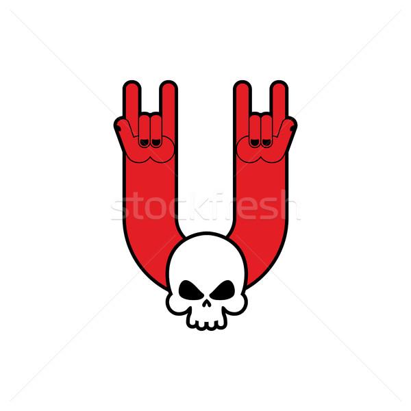 Rock hand schedel symbool muziek rollen Stockfoto © popaukropa