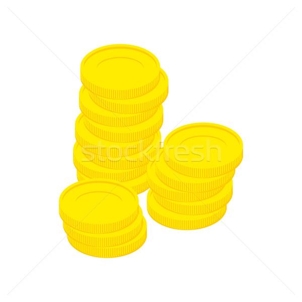 Moedas de ouro isolado dinheiro branco metal Foto stock © popaukropa