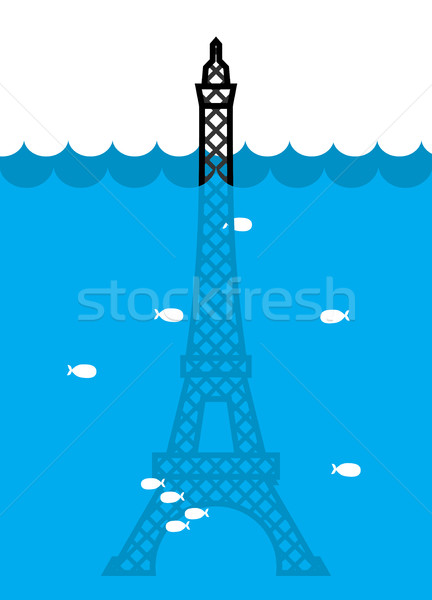 Eiffel Tower Flood. deluge in Paris. Plenty of water and fish. D Stock photo © popaukropa