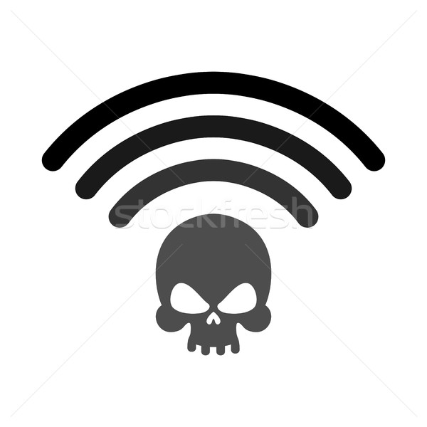 Wi-fi death. WiFi mortal. Wireless connection skull. Passing doo Stock photo © popaukropa