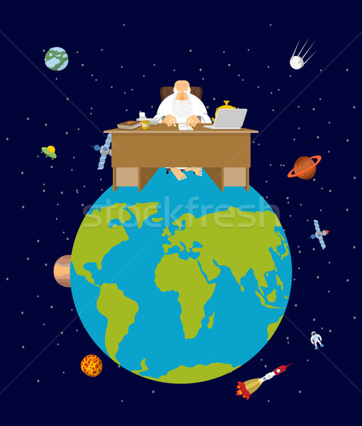 God is boss earth. director and Desktop. Planet earth in space.  Stock photo © popaukropa