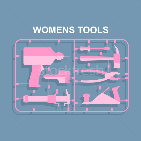 Pink tools. Set for women. plastic model kits for blondes. Vecto Stock photo © popaukropa