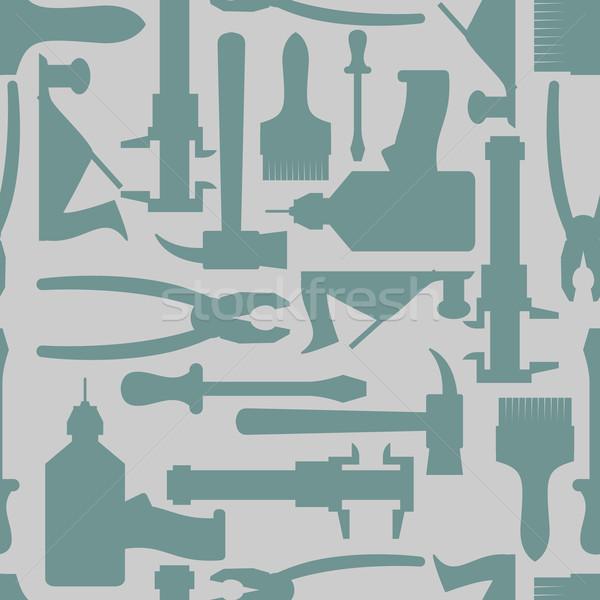 Sem costura construção mão ferramentas padrão casa Foto stock © popaukropa
