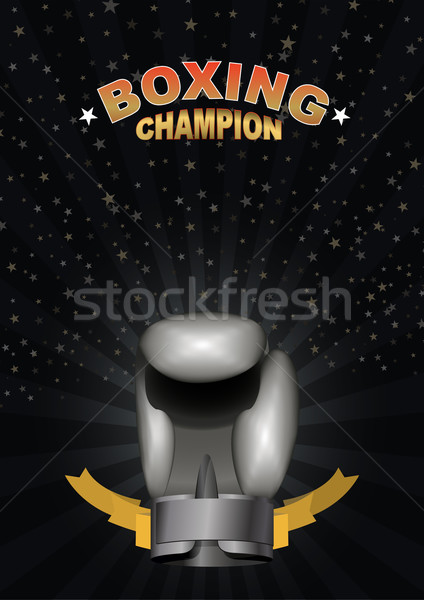 Bokshandschoenen sjabloon kampioenschap boksen zilver Stockfoto © popaukropa