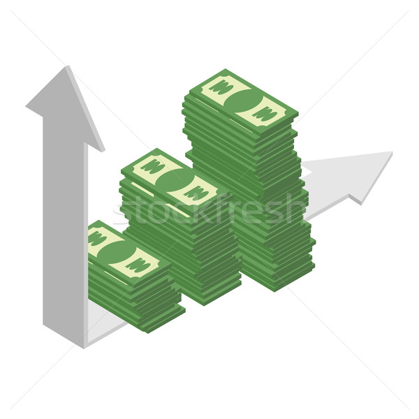 Graph growth income. Sales growth. A bunch of cash. Piles of dol Stock photo © popaukropa
