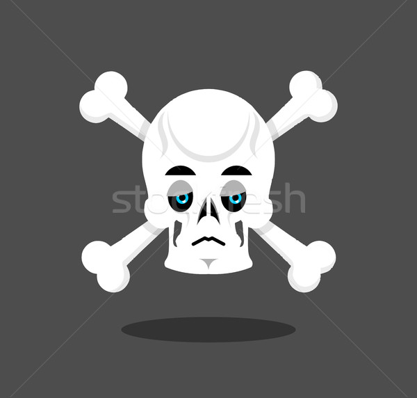 Stock photo: Sad skull emotion. Crossbones.  melancholy skeleton head