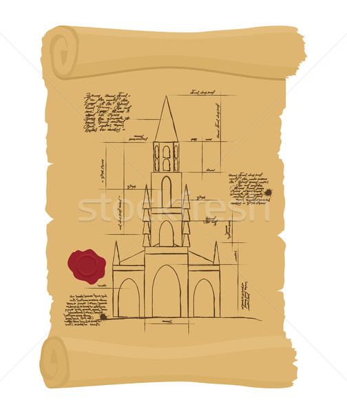 Berne Cathedral on old paper Scheme. Ancient scroll.  scheme of  Stock photo © popaukropa