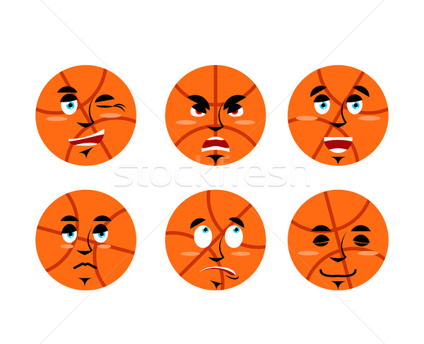 Emotions basketball ball. Set expressions avatar sports game. Go Stock photo © popaukropa