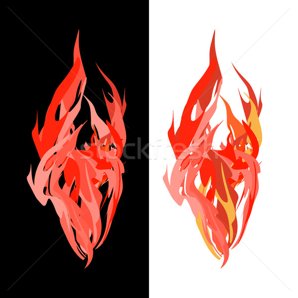 Stock photo: Fire. Tongues of flame on white and black background. Vector ill