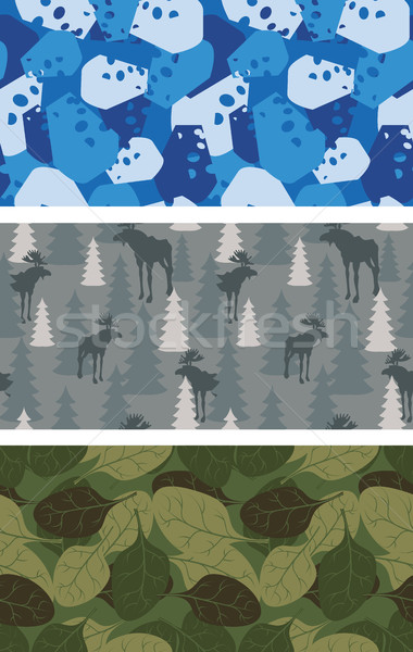 Military set of textures. Winter blue Camo made of cheese. Grey  Stock photo © popaukropa