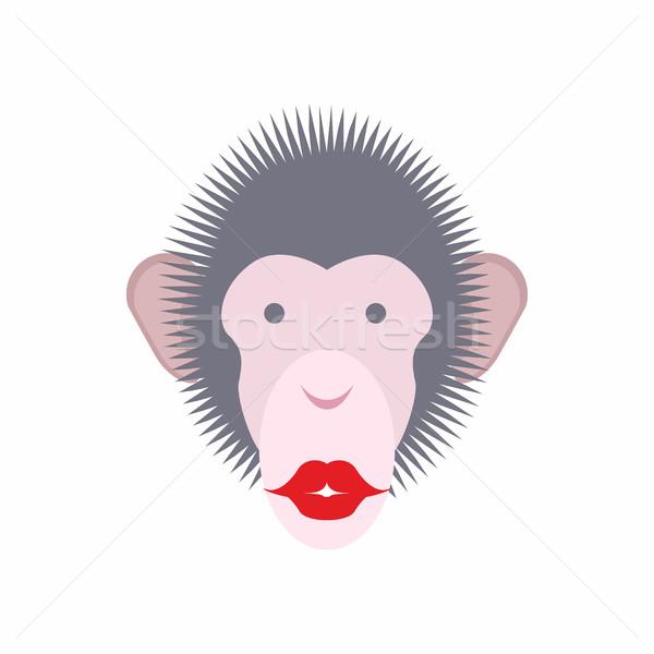 Monkey face with lips. Kiss of  animal. Vector illustration Stock photo © popaukropa