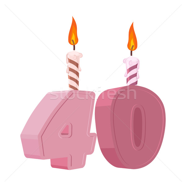 Stock photo: 40 years birthday. Figures with festive candle for holiday cake.
