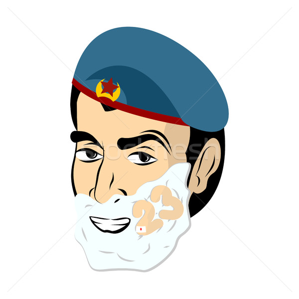 February 23. Soldier shave. Shaving foam on his face. Military h Stock photo © popaukropa