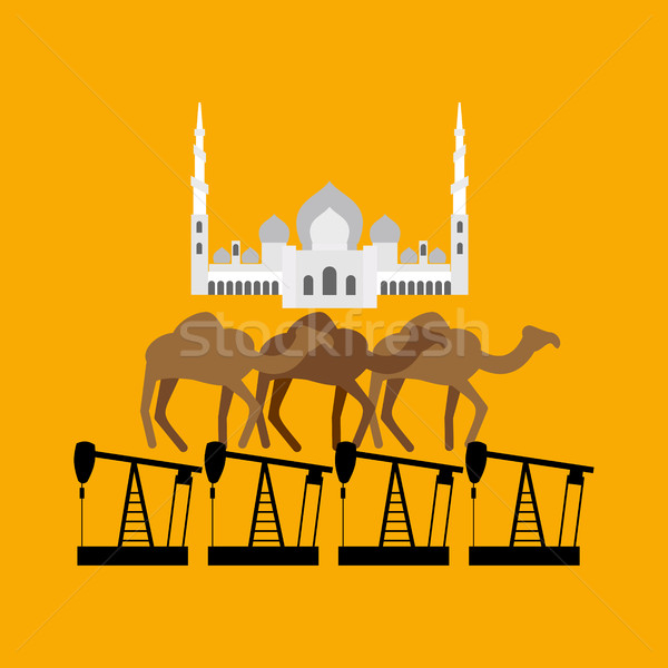 UAE system. Sheikh Zayed Mosque stands on camel and oil rig Stock photo © popaukropa