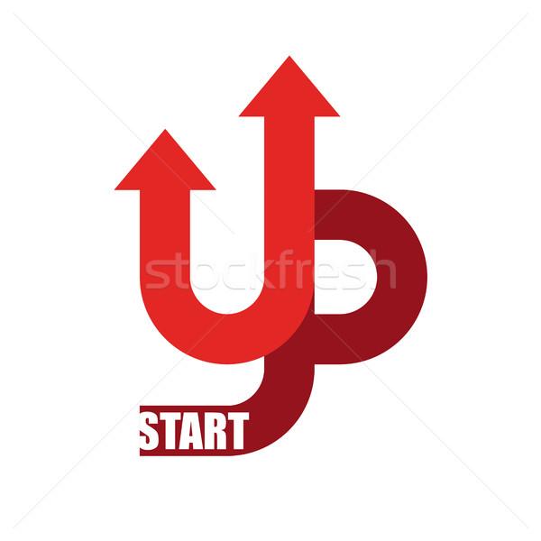Start up logo. Startup emblem. Running business. Getting case. R Stock photo © popaukropa