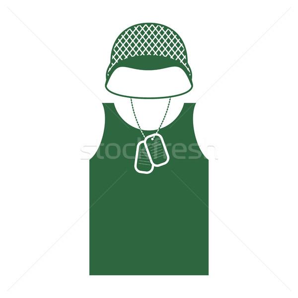 Katonák sisak póló katonaság ruházat hadsereg Stock fotó © popaukropa