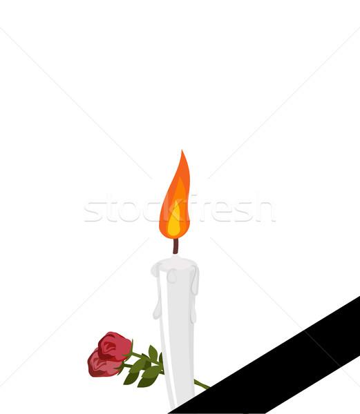 Lutto frame nero nastro candele fiori Foto d'archivio © popaukropa