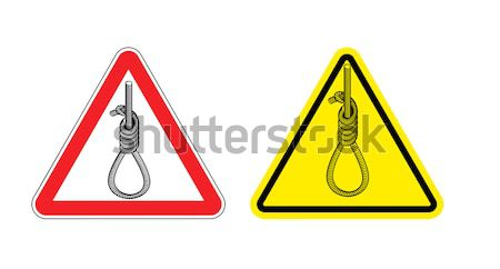 lynching Attention. Loop executioner on yellow triangle. Road si Stock photo © popaukropa