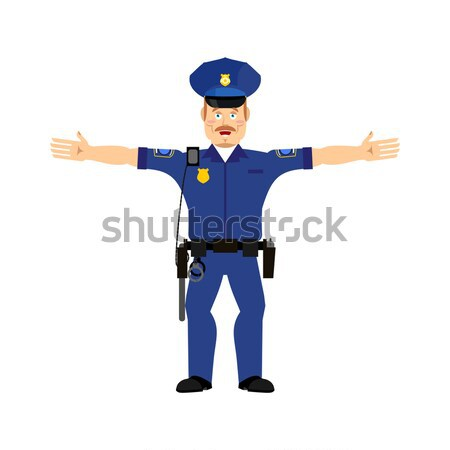 Police officer Happy Emoji isolated. Policeman merry emotion Stock photo © popaukropa