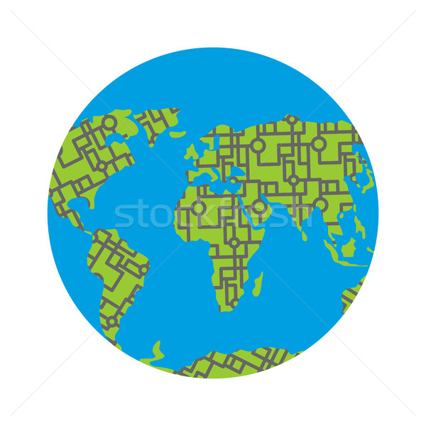 Urbanization earth. Roads have filled in all continents of  land Stock photo © popaukropa