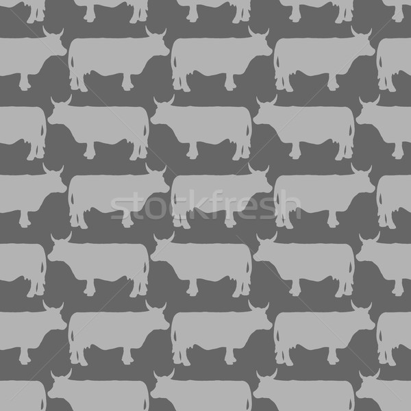 Grey cows graze seamless pattern. Vector background of livestock Stock photo © popaukropa